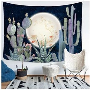 Cactus and moon tapestry